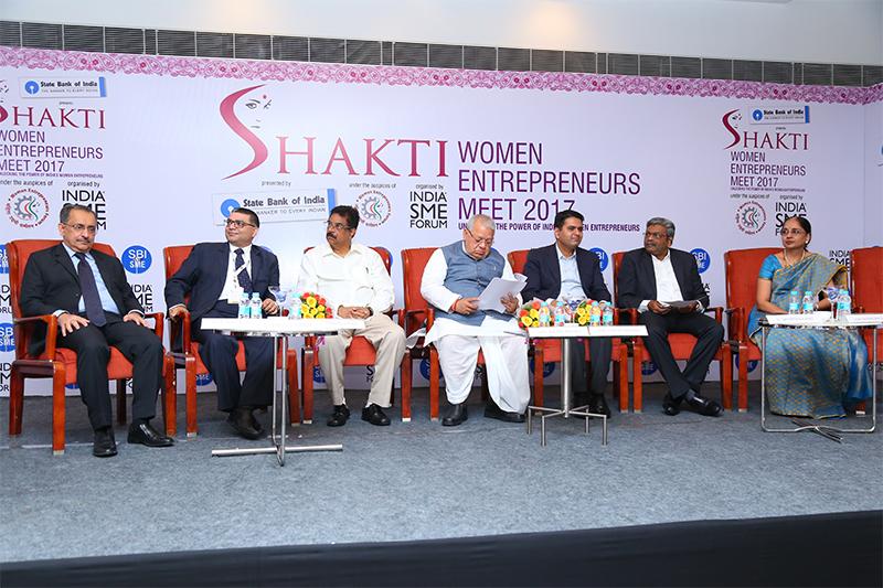 Dignitaries (L-R)- Shri Ravindra Pandey,GM,NW-2, Hyderabad Circle,SBI; Shri. Vinod Kumar, President India SME Forum; Shri Hari Babu,MP,Andhra Pradesh; Shri Kalraj Mishra, Hon'ble Minister of MSME,Govt of India; Shri Kartikeya Misra, IAS, Director Industry & CEO AP Invest, Government of Andhra Pradesh; Â Shri Sambasiva Rao,President Elect,AP Chambers; Smt. Uma Shanmukhi Sistla, GM- SME, State Bank of India, Corporate Centre, Mumbai & Shri. Prahlad kakar, AD Guru & Chairman India SME Forum