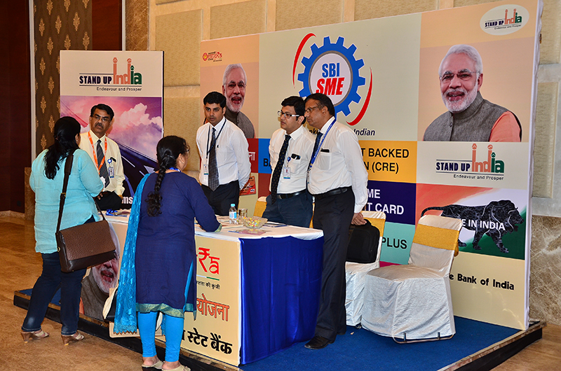 Networking at the State Bank of India stall