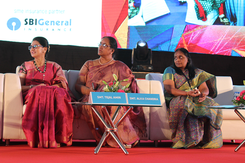 Speakers(L-R)-Ms.Tejal Amin,Chairperson-Navrachna International School & Director-Jyoti Ltd.;Ms.Alka Chandra,Head-Learning & Development,SBI Insurance & Ms. Jyoti Patel-Regional Head,Baroda Zone,Bank of Baroda