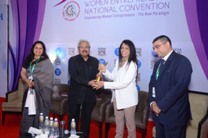 Smt Smita Naram, Founder Ayushakti receiving the trophy