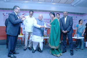 Ms. Sailaja Kiron, MD, Margadarsi Chit Funds Pvt. Ltd. receiving the trophy by Shri Kalraj Mishra, Hon'ble Minister of MSMEÂ