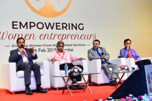 Banking session (L-R) Shri Ashok Pathak, GM, Bank of India, Shri Vinay Hedaoo, Chief GM, SIDBI, Shri Vinod Kumar, President, India SME Forum, Shri S. Brahmananda Raju, AGM, Andhra Bank